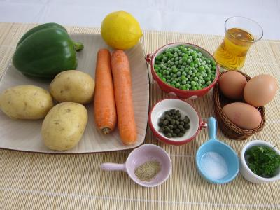 Ingrédients pour la recette : Salade et sauce au parfum de Russie