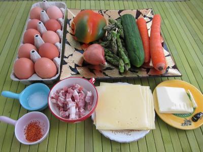 Ingrédients pour la recette : Omelettes aux carottes et aux légumes