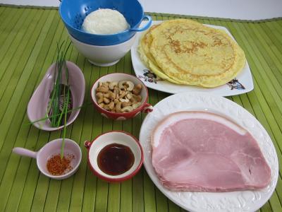 Ingrédients pour la recette : Roulés au jambon, brousse et mascarpone
