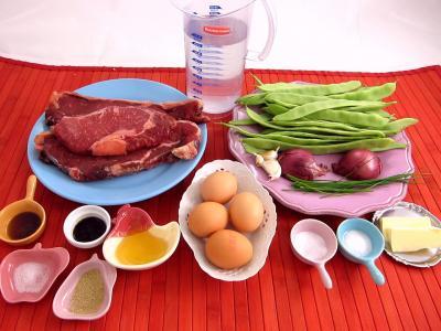 Ingrédients pour la recette : Tartare de boeuf aux haricots plats