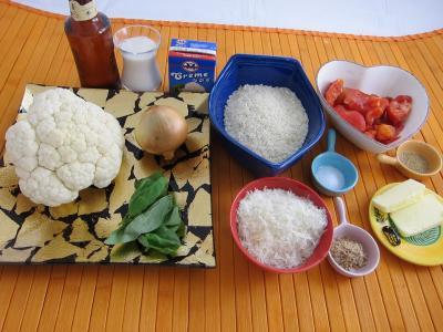 Ingrédients pour la recette : Risotto au chou-fleur