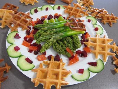 Recette Assiette d'asperges et de gaufrettes au chorizo