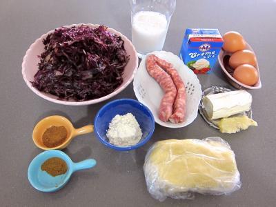 Ingrédients pour la recette : Quiche au chou rouge