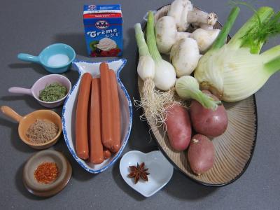 Ingrédients pour la recette : Fenouil en velouté et aux knackis (saucisses de Strasbourg)