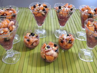Recette Mûres et melon en salade au sirop de noix de coco