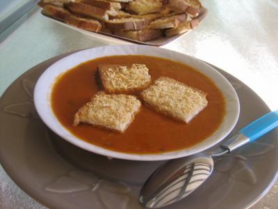 Recette Crème de tomates et haricots verts