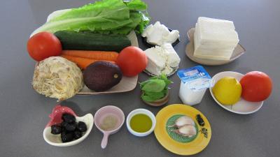 Ingrédients pour la recette : Dip à la grecque et ses crudités