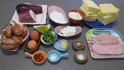 Ingrédients pour la recette : Sandwichs à l'aubergine et au jambon
