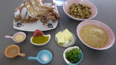 Ingrédients pour la recette : Riz pilaf aux gambas à l'orientale revisité