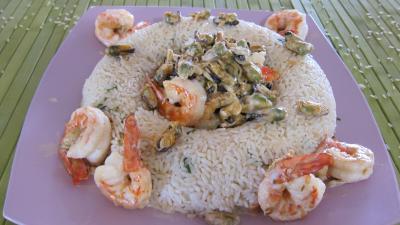 moule : Plat de riz pilaf aux gambas à l'orientale revisité