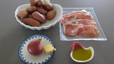 Ingrédients pour la recette : Röstis de pommes de terre au jambon de Parme