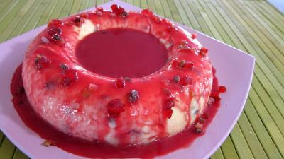 Recette Assiette du gâteau de semoule au coulis de framboises