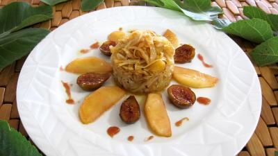 chou blanc : Assiette de compotée de chou aux figues et aux pommes